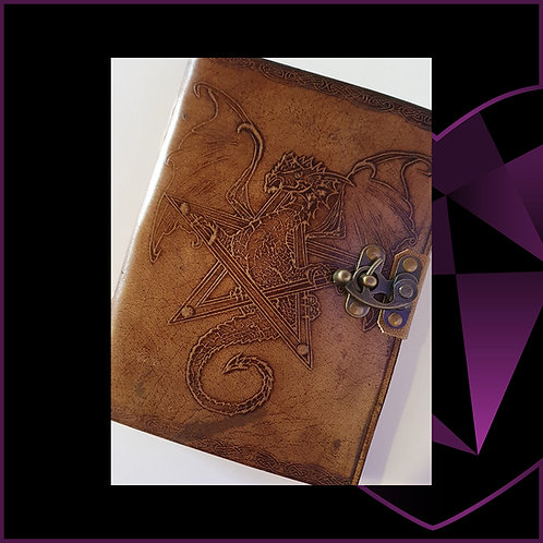 Handmade Leatherbound Notebook Dragon Design B