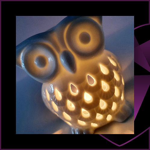 Ceramic White Owl Wax Melter