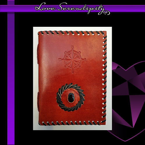 Leather Bound Notebook Compass Lined