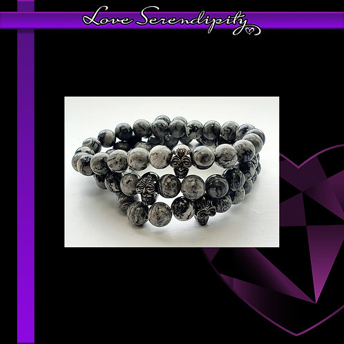 Pewter Skull Grey Agate
