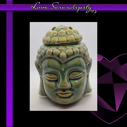 Ceramic Round Buddha Wax Melter Green