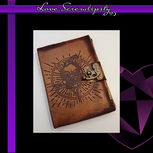 Leather Bound Notebook Skull Burns