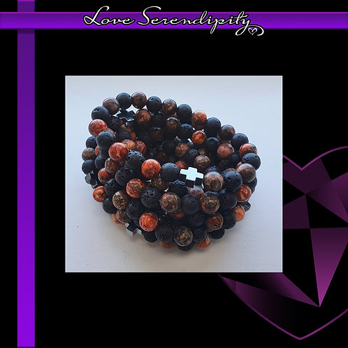 ETERNITY Leopard Skin Jasper and Lava Stone