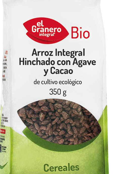 Arroz integral hinchado con agave y cacao  350 gr