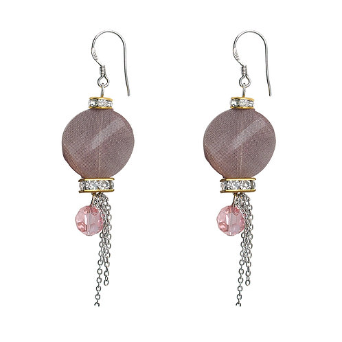 Pink Saturated Ball Stud Dangling Earrings