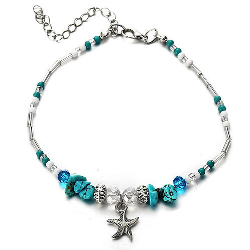 Starfish Shell Retro Beach Style Rice Beads Anklet