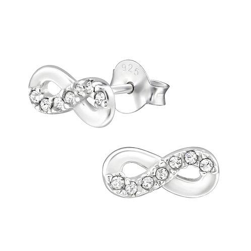 SwarovskiCrystal SterlingSilver Infinity Stud Earrings