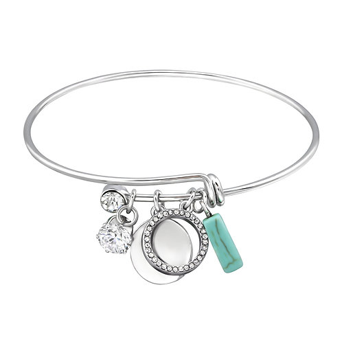 Geometric Silver Charms Bangle w/Crystal and Imitation Turquoise Bead