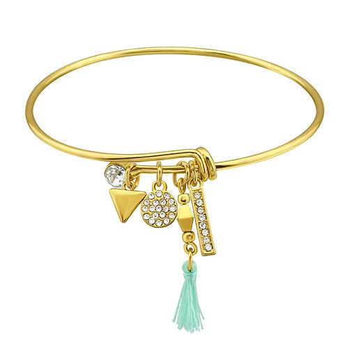 Gold Geometric Charms Bangle w/Crystal