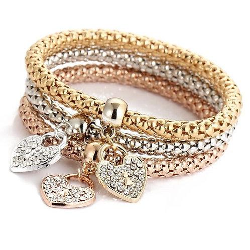 Crystal & Cubic Zirconia Bows Heart Bracelet