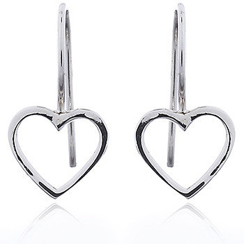 Open Heart Sterling Silver Drop Earrings