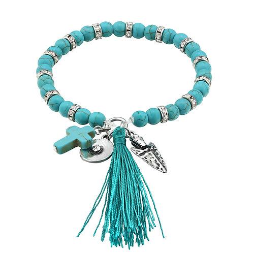 Turquoise Cross Beaded Tassel Bracelet