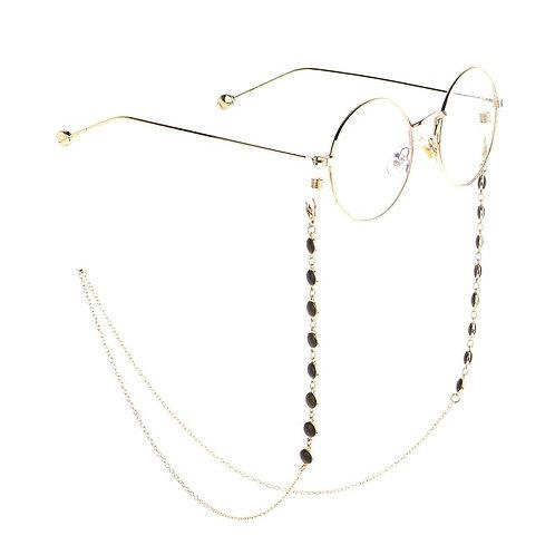 Handmade Golden Black Beaded Sunglasses Chain