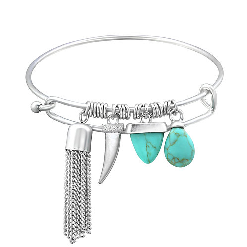 Ethnic Silver Charms Bangle w/Imitation Turquoise Beads