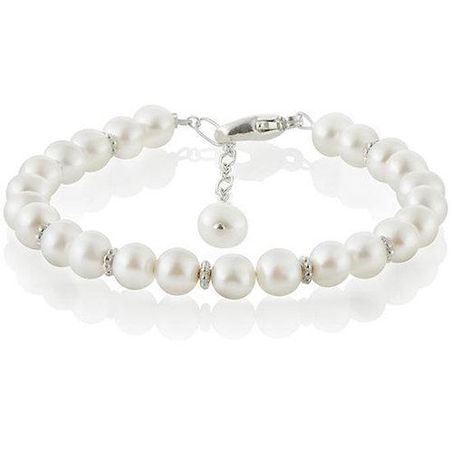 Dainty Sterling Silver Freshwater Pearl Flower Beads Bracelet