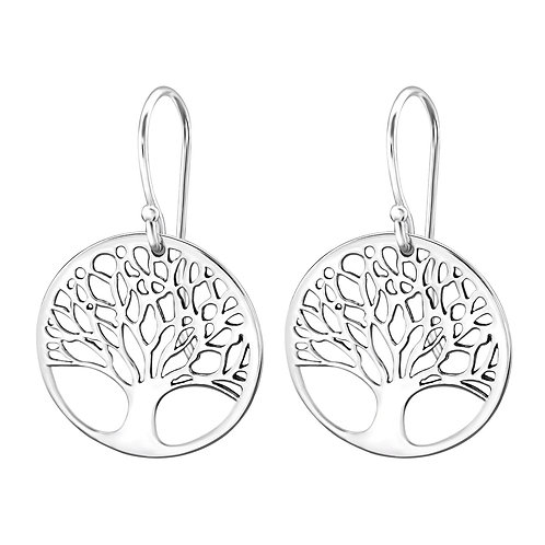 Puffy Leaf In Sterling Silver Tree of Life Dangle Earrings