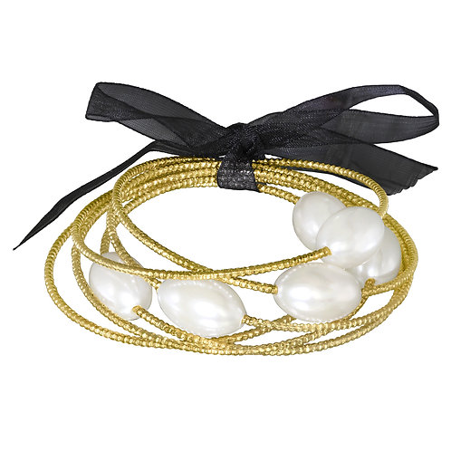 Gold Synthetic White Pearl Bangle Set