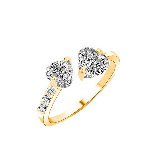 Gold Zircon Heart Shape Diamond Adjustable Ring