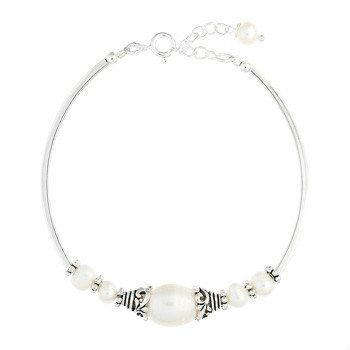 Tube Beads Sterling Silver Freshwater Pearl Bracelet