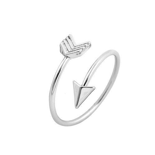 Silver Retro Rock Art Style Arrow Adjustable Ring