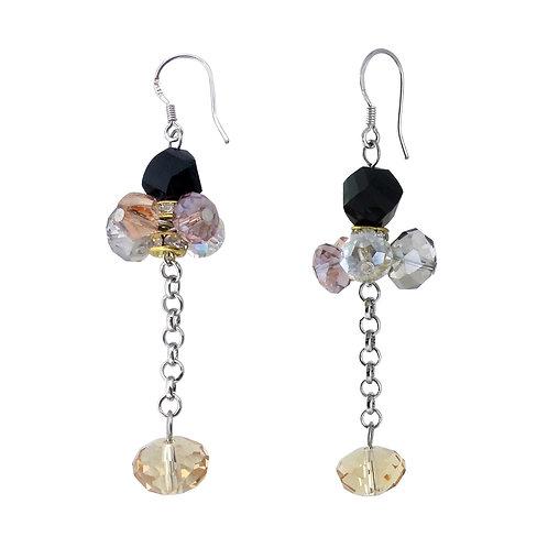 Black Stone Chandelier Dangling Stud Earrings