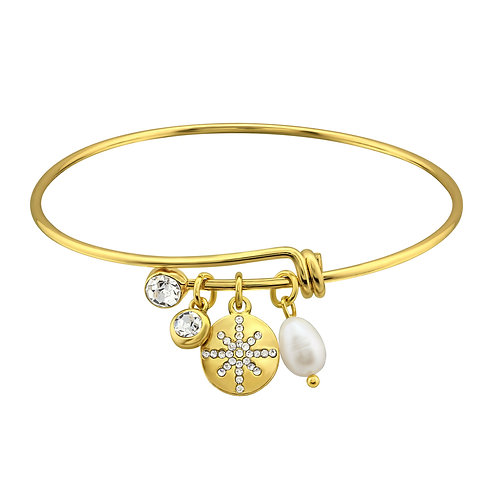 Lovers Gold Charms Bangle w/Synthetic Pearl and Crystal