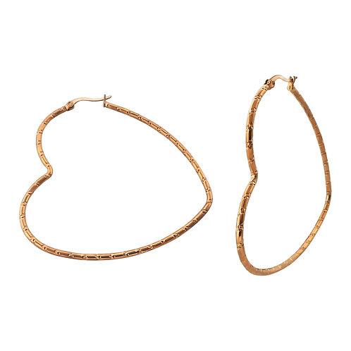 Rose Gold Heart Stainless Steel Hoop Earrings