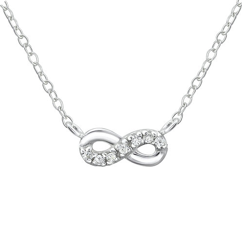 Inline SterlingSilver Infinity Necklace with Cubic Zirconia