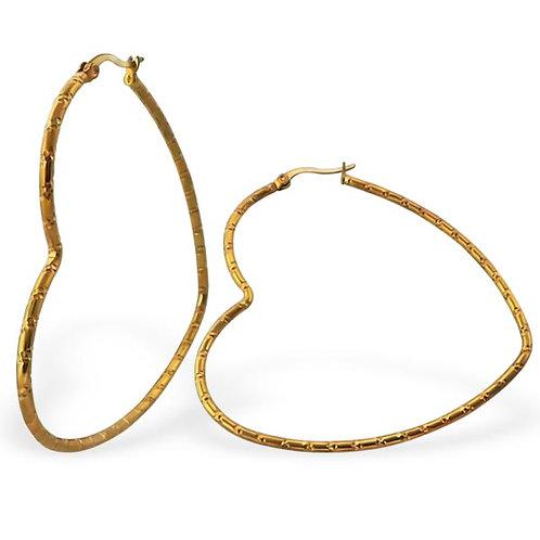 Gold Heart Stainless Steel Hoop Earrings