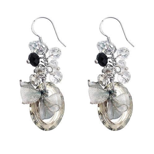 Silver Laced Dangling Stud Earrings