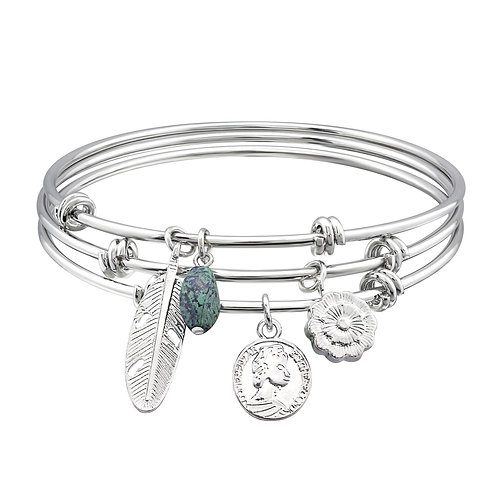 Silver Mixed Charms Bangle