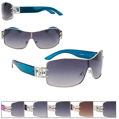 Pink Accented Faux Rhinestones Designer Sunglasses