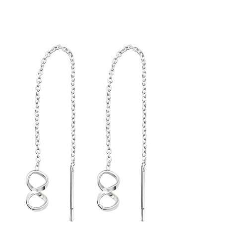 Infinity Sterling Silver Thread Through Earrings