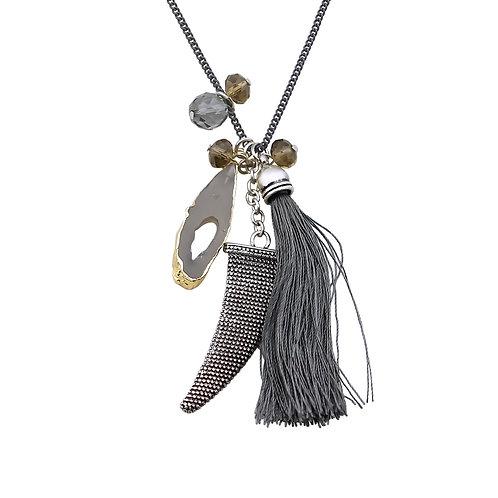 Long Dark Grey Tassel Necklace