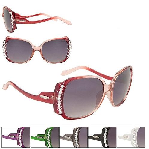 Red & White Vintage Rhinestones Designer Sunglasses