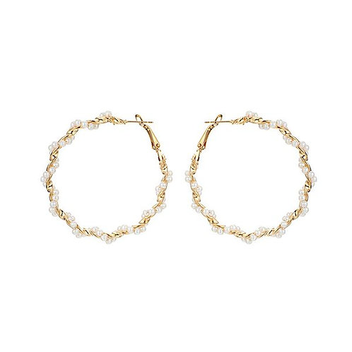 Simple Gold Spiral w/White Pearl Earrings