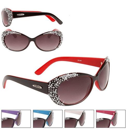 White & Black Faux Rhinestones Designer Sunglasses