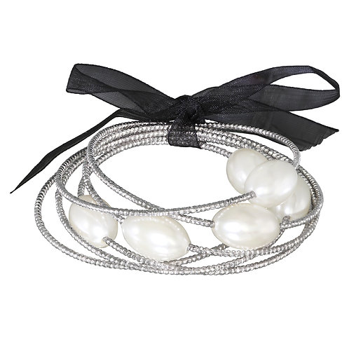 Silver Synthetic White Pearl Bangle Set