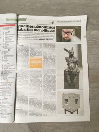 """Straipsnis """"Kauno dienoje"""" apie mano personalinę parodą CON:create"""