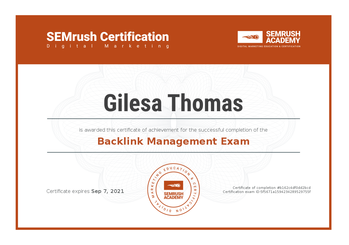 Backlink Management Certificate
