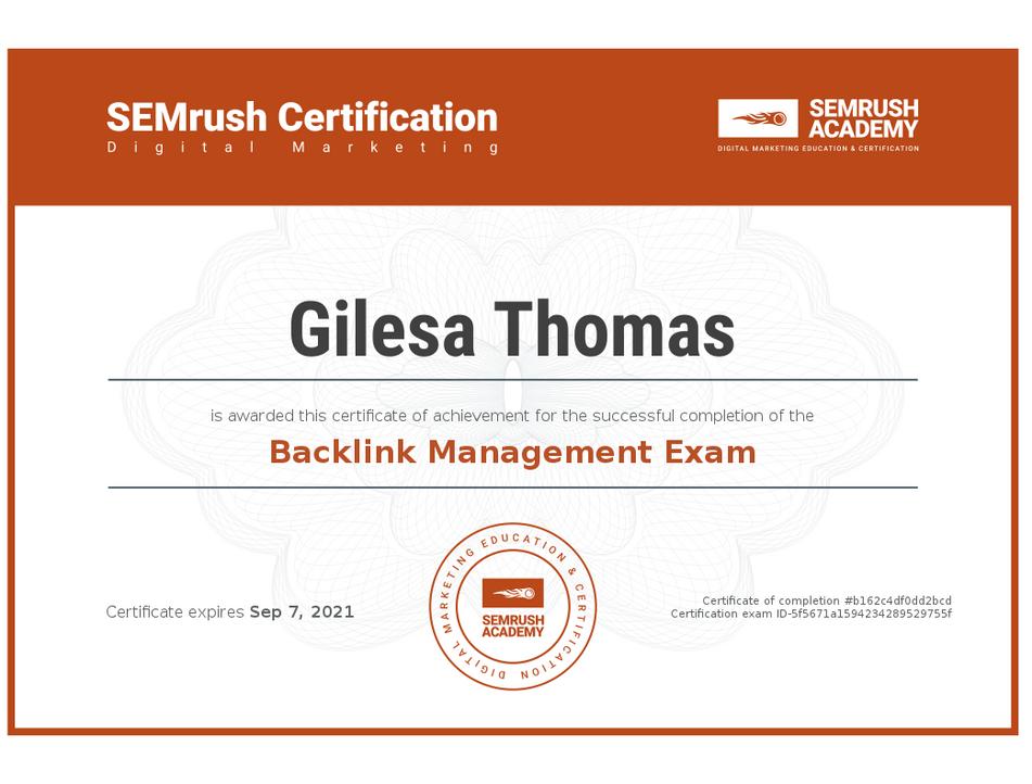Backlink Management Certificate