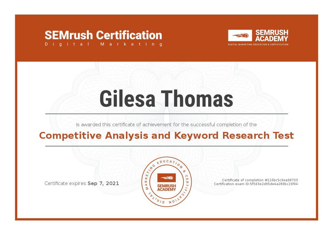 Competitive Analysis and Keyword Research Certificate