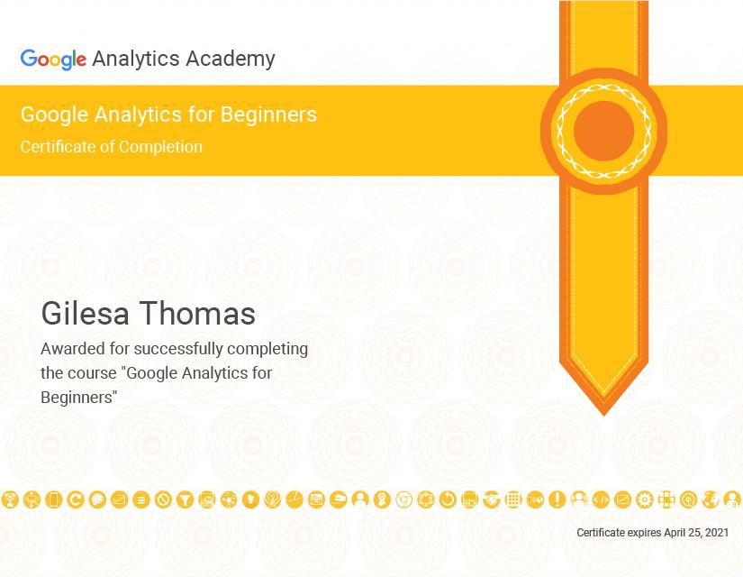Google Analytics Beginner Ceritficate