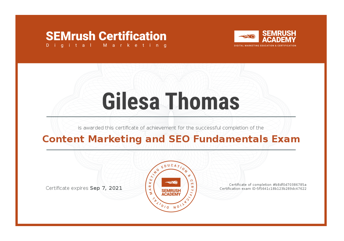 Content Marketing and SEO Fundamentals Certificate
