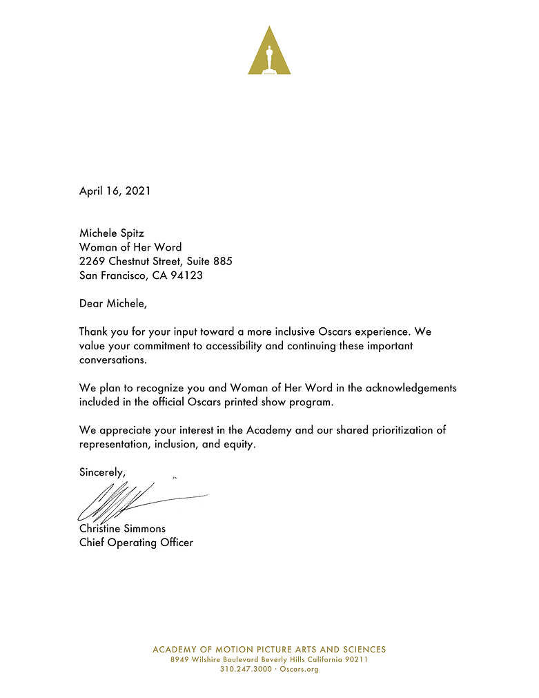 AMPAS acknowledgement letter_Woman of He