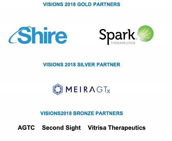 Visions Golf and Silver and Bronze partner logs - Shire, Spark, MeiraGTx, AGTC, Second Sight, and Vitrisa Therapeutics