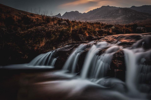 The last of the day light catching the wet rocks of the North Sannox burn