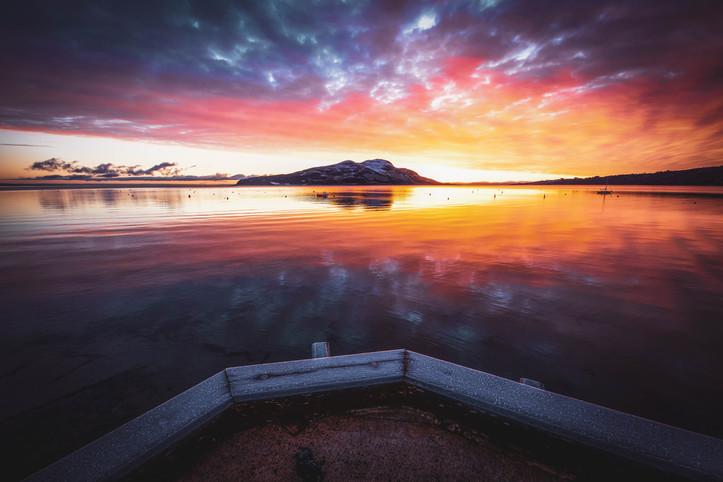 Dappled sunrise, Lamlash pier.jpg
