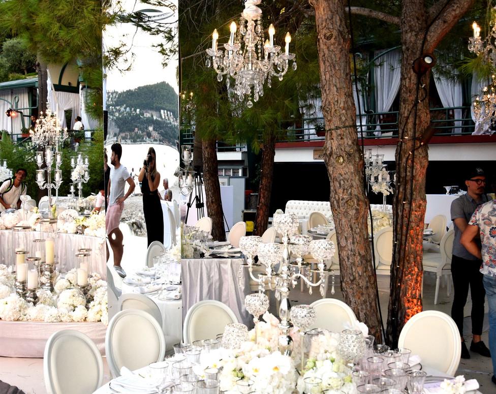 White wedding table settings