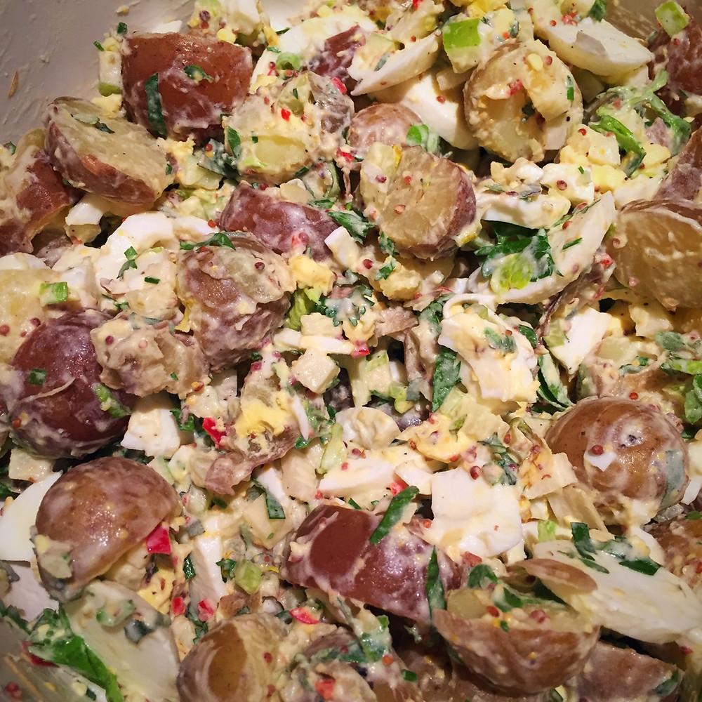 Healthy potato salad dairy-free gluten-free fresh herbs